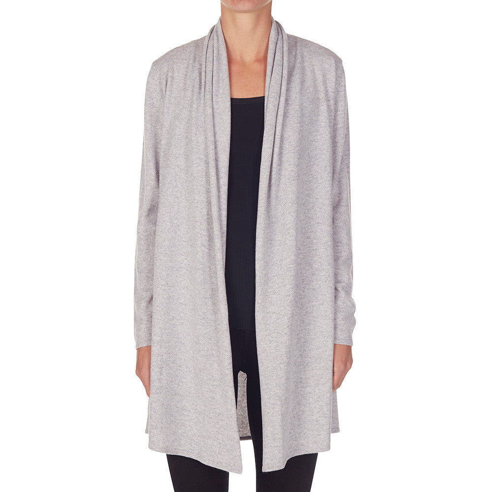 Cashmere Nina Long Slit Side Cardigan Pale Marle Grey - sonyahopkins.com
