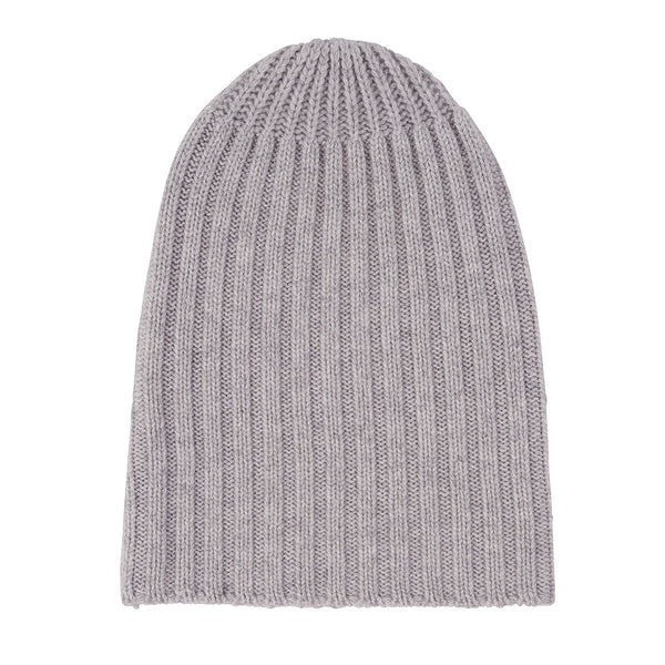Cashmere Alex Rib Beanie in Pale Marle Grey - sonyahopkins.com