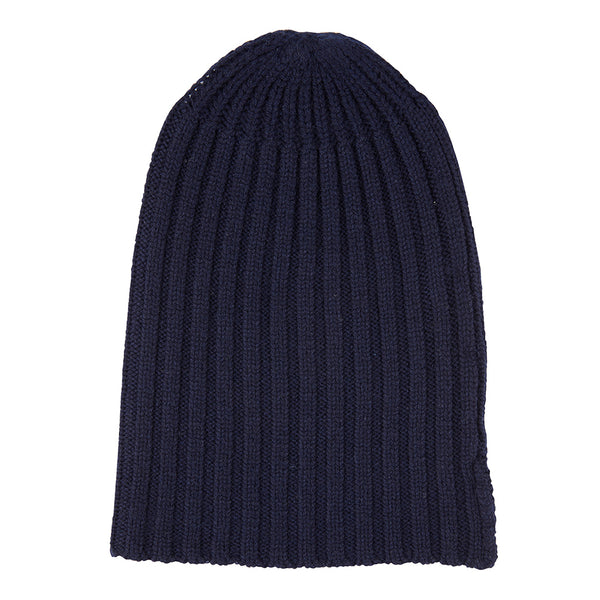 Cashmere Alex Rib Beanie in Ink - sonyahopkins.com