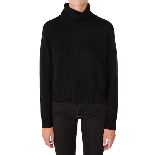 Cashmere Rebecca Cropped Turtleneck in Black - sonyahopkins.com