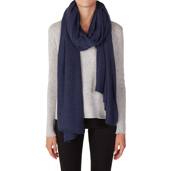 100% Cashmere Jean Wrap in Denim