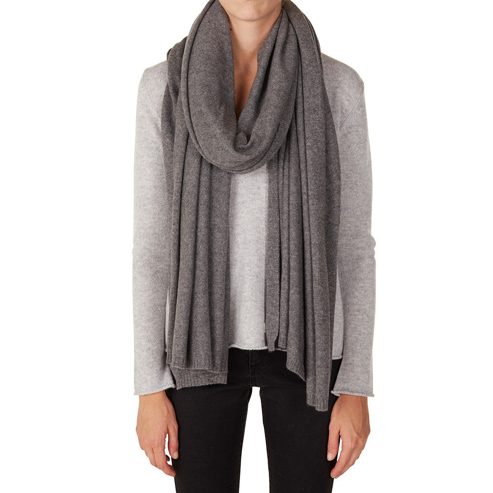 100% Cashmere Jean Wrap in Charcoal Marle Grey - sonyahopkins.com