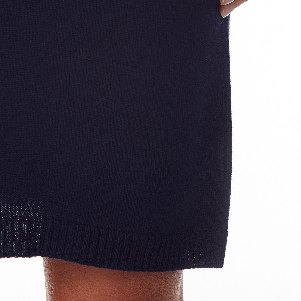 Silk + Cashmere Classic Knit Dress in Navy - sonyahopkins.com