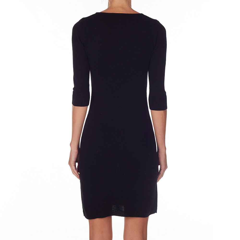 Silk + Cashmere Classic Knit Dress in Black - sonyahopkins.com