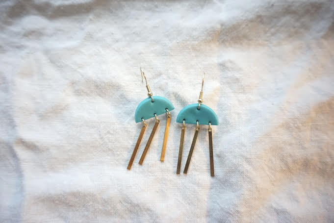 Teal half moon earrings