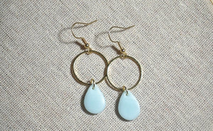 Ice blue and gold teardrops
