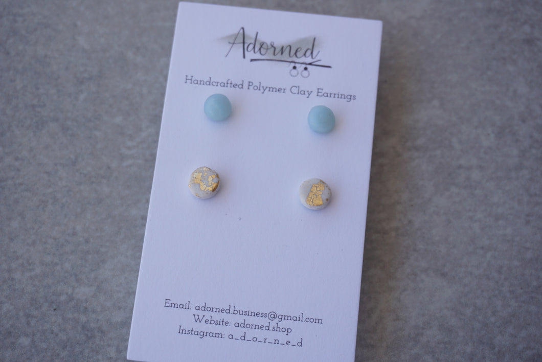 Ice blue and white/gold stud pack