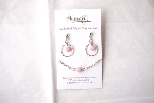 Silver and pink bead necklace set