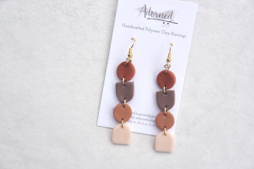 Geometric earth tone dangles