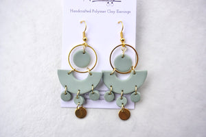 Gold and sea green large dangles