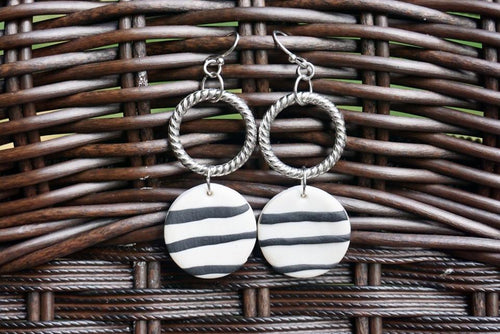 Black & White Striped Earrings