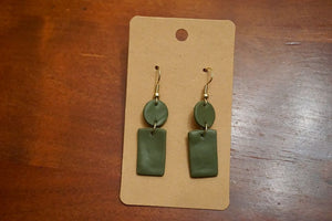 Olive Green Shaped Earrings