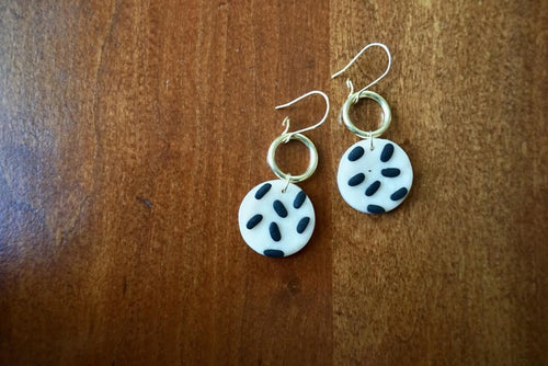 Black and White Patterned Earrings