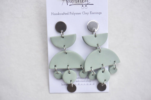 Sage geometric earrings