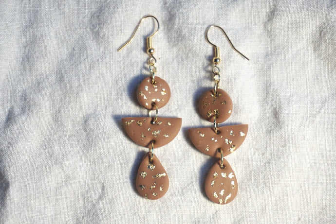 Brown gold speckled geometric earrings