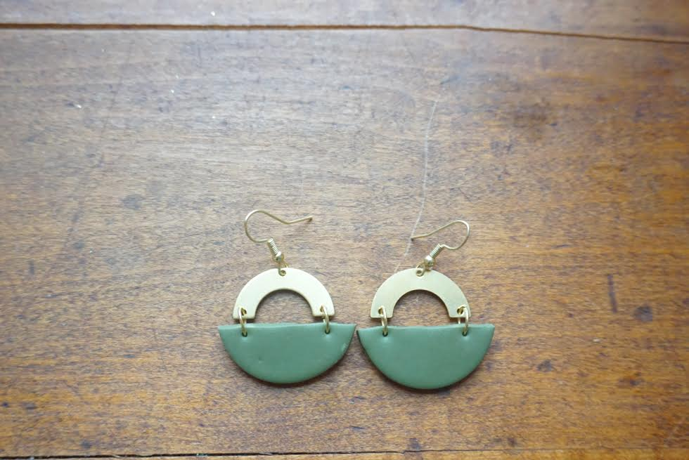 Olive green half circle earrings