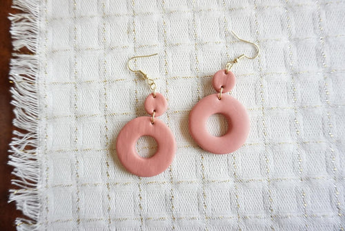 Large dusty pink circle earrings