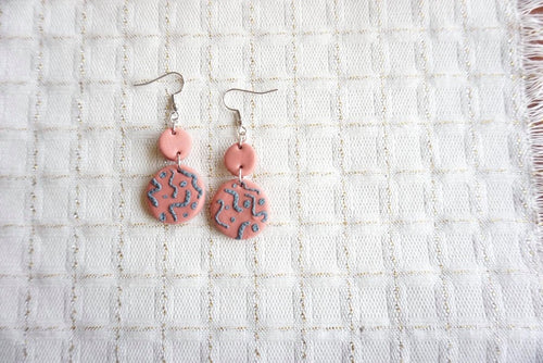 Dusty pink and grey patterned earrings