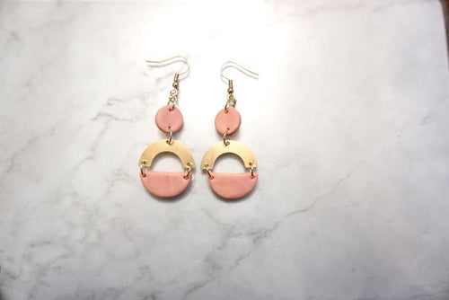 Dusty light pink and gold half circle earrings