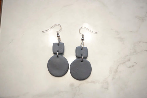 Dark grey geometric earrings