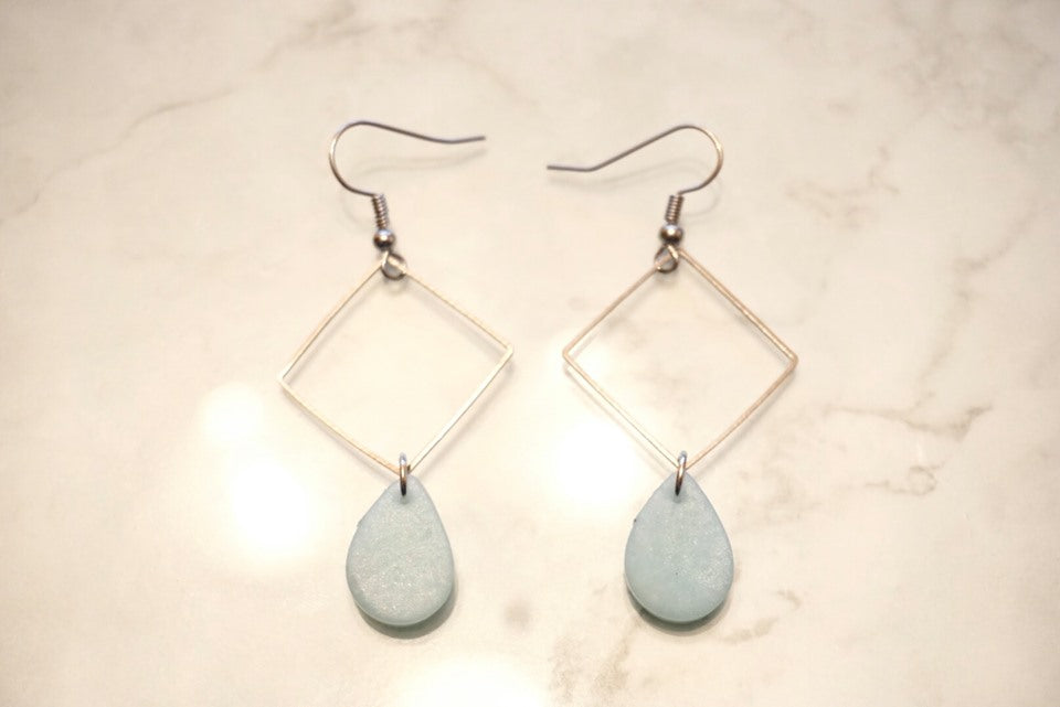 Ice blue square earrings