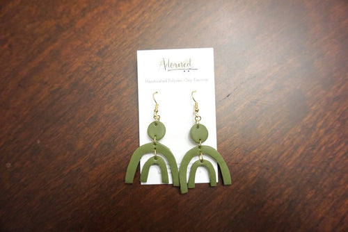 Army green rainbow shaped earrings