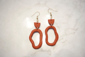 Burnt orange geometric earrings