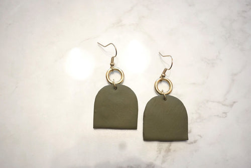 Army green statement earrings