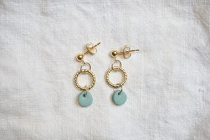 Teal and gold studs