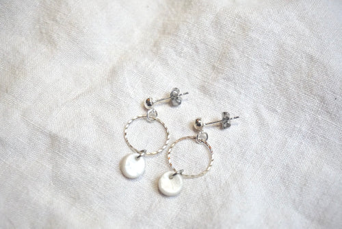 Pearly white and silver studs
