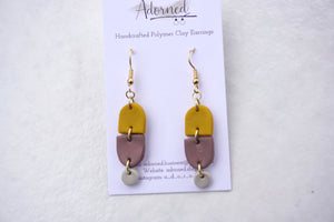 Mustard yellow and dusty purple dangles