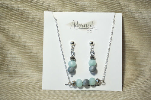 Ice blue and silver bead jewelry set