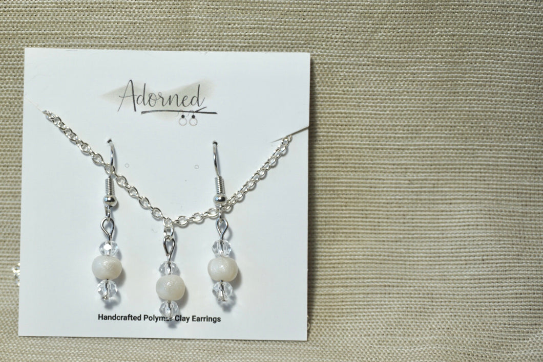 Pearly white clay and crystal earrings