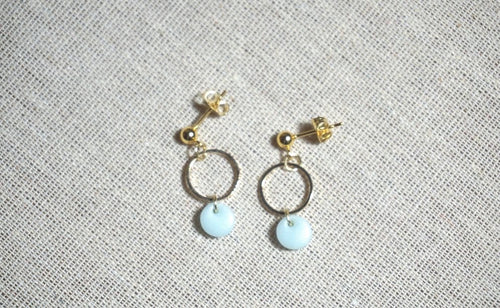 Ice blue gold studs