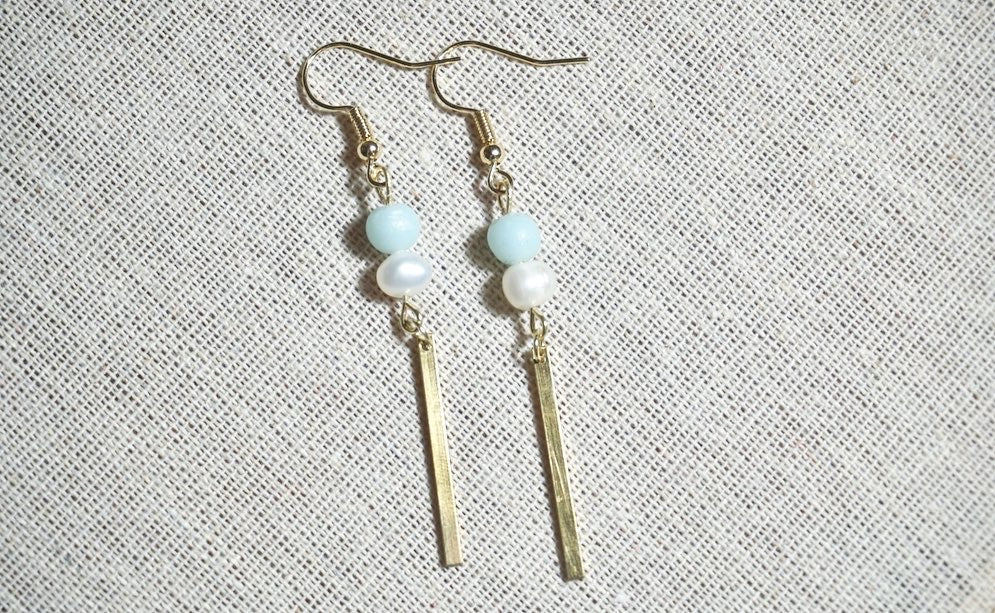 Ice blue and pearl gold drops