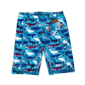 Kid's Spandex Shorts Blue Whale