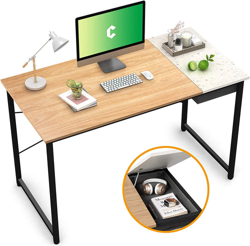 "Cubiker 55"" Writing Computer Desk with drawer, Natural Terrazzo"