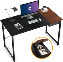 "Load image into Gallery viewer, Cubiker 55""Writing Computer Desk with drawer, Black match Espresso color"