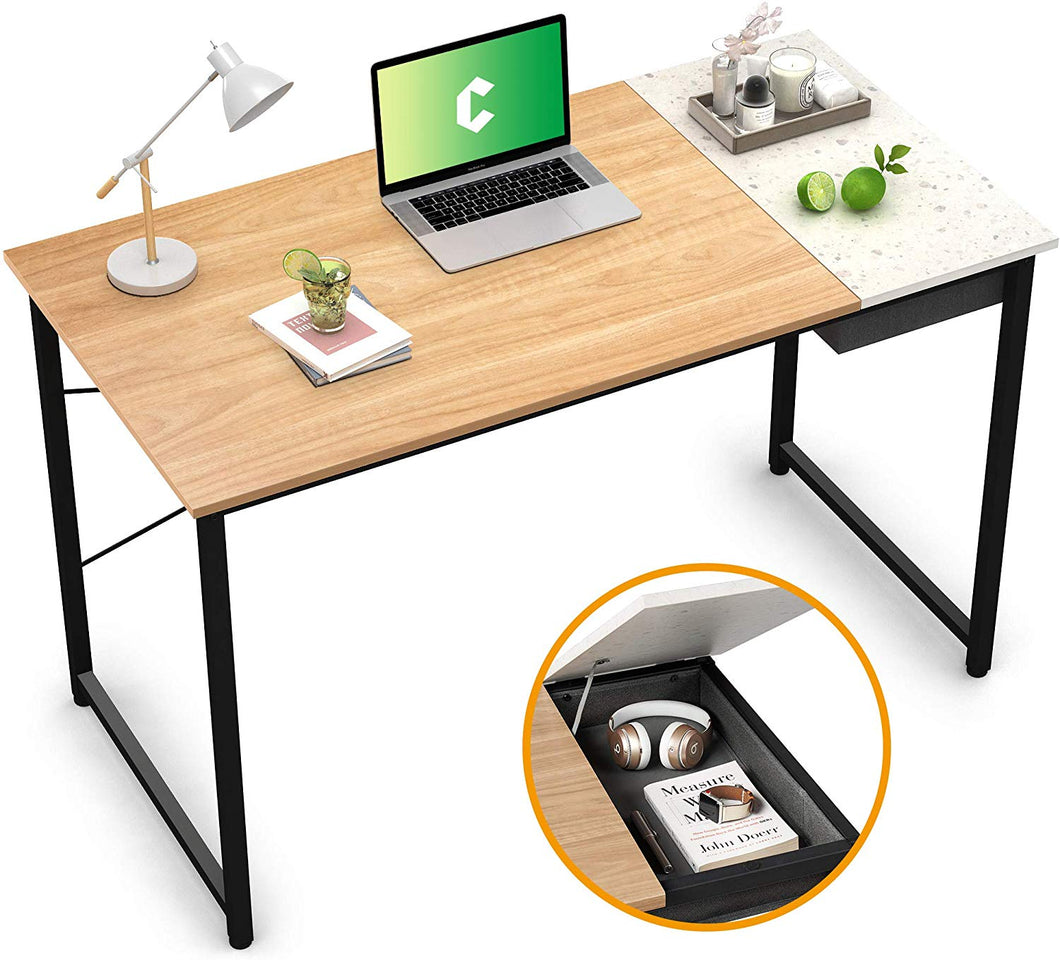 "Cubiker 47"" Writing Computer Desk with drawer, Natural Terrazzo"