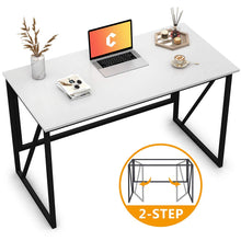 "Load image into Gallery viewer, Cubiker Writing Computer Desk 47"" Modern Simple Study Desk,Easy Assembly White"