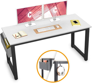 "Cubiker 55""Writing Computer Desk with Extra Strong Legs, White color"