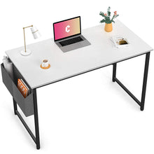 "Load image into Gallery viewer, Cubiker White Computer Desk 55"" Home Office Writing Study Desk"