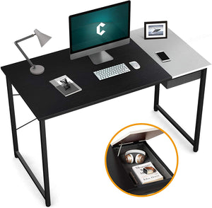 "Cubiker 55""Writing Computer Desk with drawer, Black match white color"