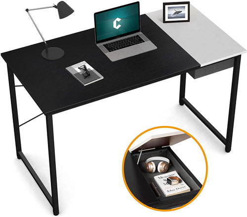 "Cubiker 47""Writing Computer Desk with drawer, Black White color"