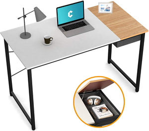 "Cubiker 47"" Writing Computer Desk with drawer, White Natural color"