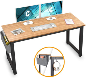 "Cubiker 63"" Writing Computer Desk with Extra Strong Legs, Natural color"