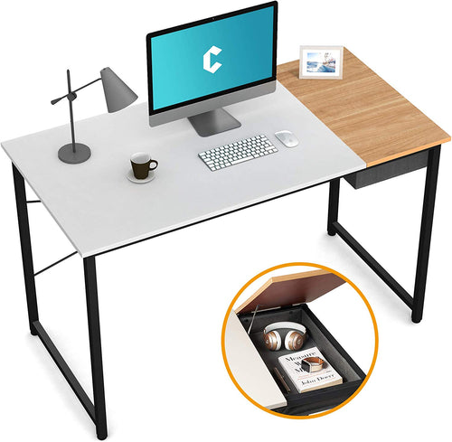 "Cubiker 55"" Writing Computer Desk with drawer, White match Natural color"