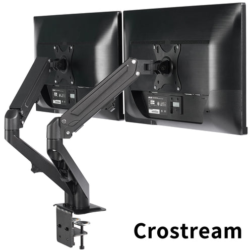 Crostream Dual Monitor Arm for 2 Computer Screens 17 to 27 inches, Black
