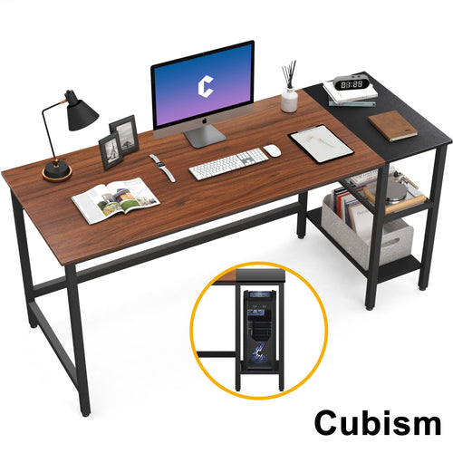Cubism Modern Computer Desk with Splice Board, Espresso and Black