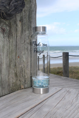 Crystal Water Bottle - Aquamarine Chip Base